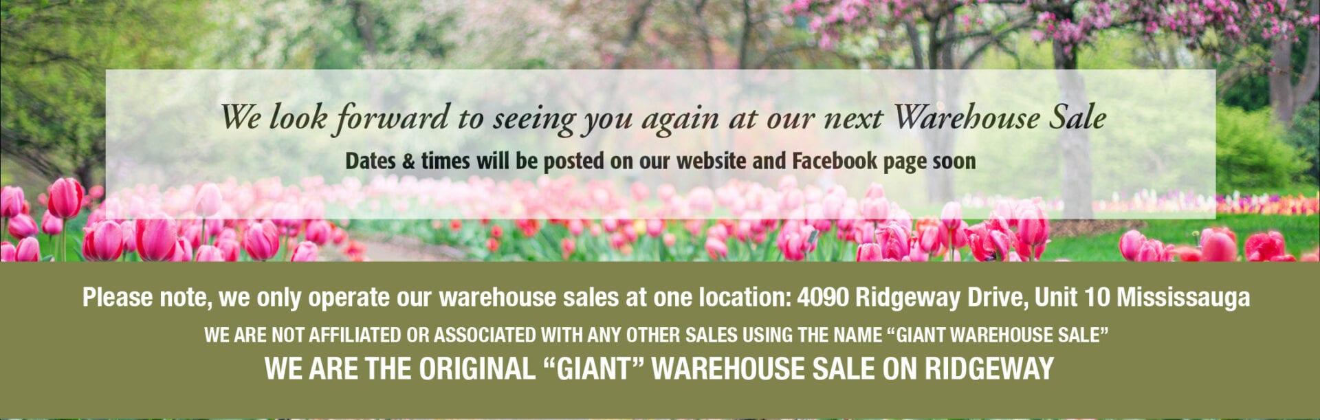next warehouse sale
